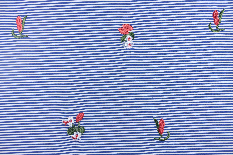 條紋紅花繡花布