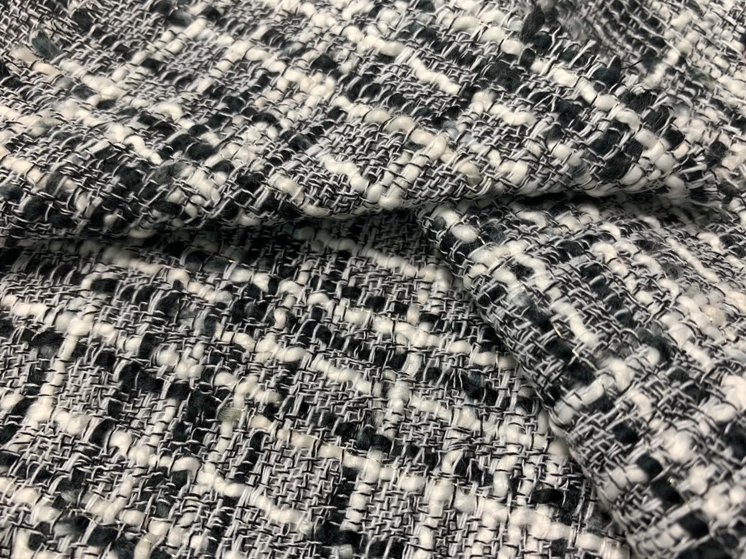 黑白交織金蔥香奈兒布(CSLL054)