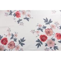 粉色絨毛牡丹印花布