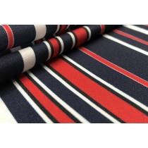藍紅相間直條紋印花布