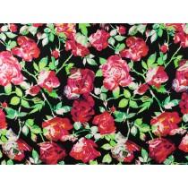黑底紅薔薇印花布 (CWRM049)