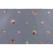 幾何圓條紋繡花布