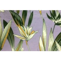 紫底浪漫百合印花布
