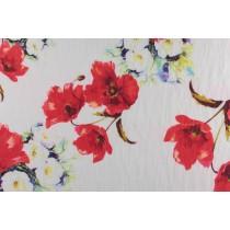 水彩紅花印花布